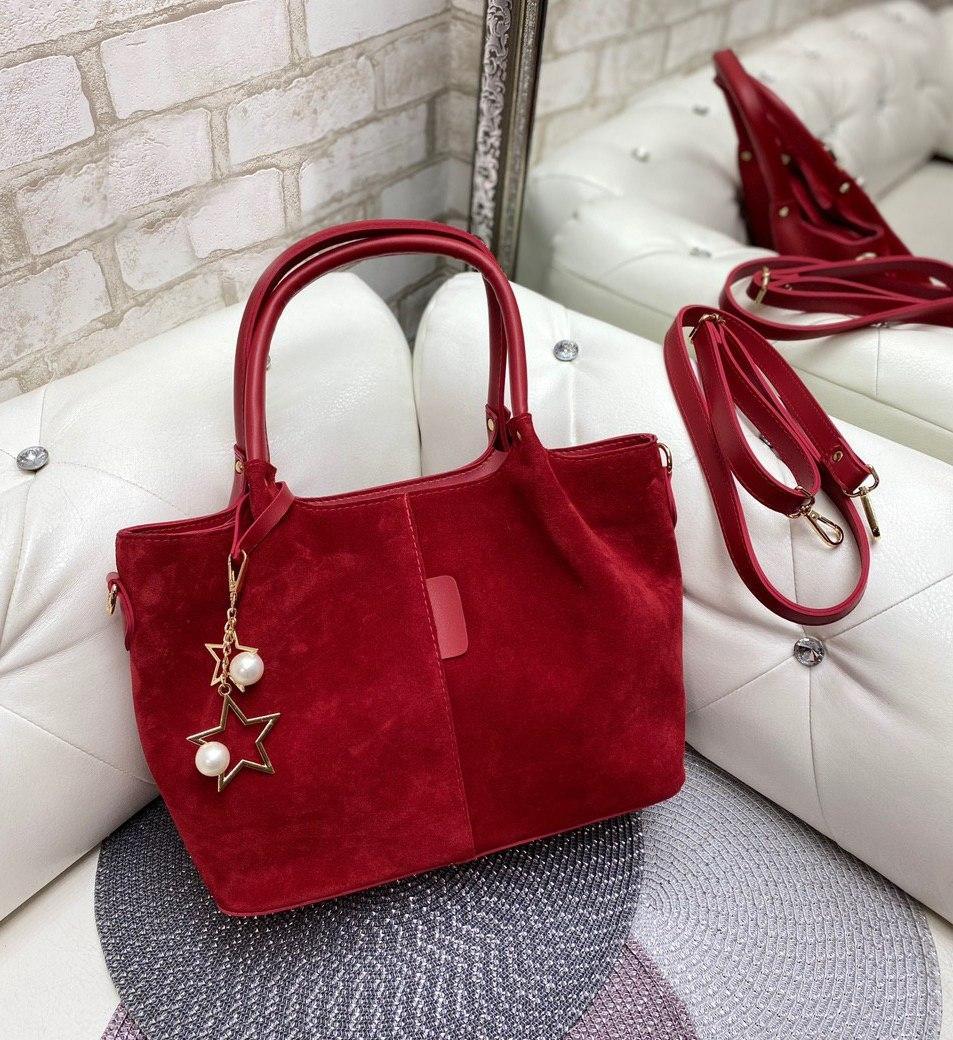 Большая вместительная красная женская сумка на плечо шоппер натуральная замша+экокожа