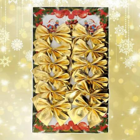 Новорічний декор Бантики (уп. 12шт) золото, фото 2
