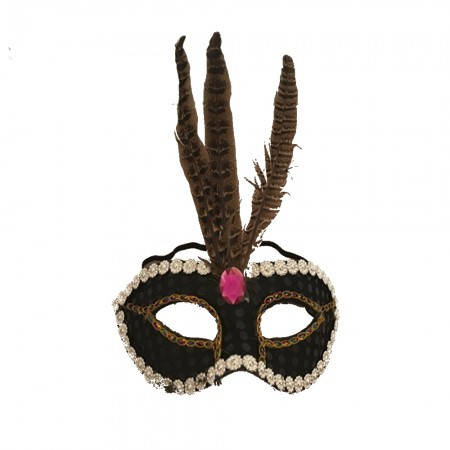 Маска маскарадная венецианская Фантазия (черная), фото 2