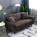 Чехол на диван универсальный для мебели цвет коричневый листья 140-175см  Код 14-0597, фото 2