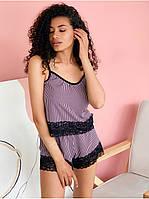 Женский шелковый  кружевной комплект шорты+топ принт полоска