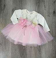 Детское нарядное платье с длинным рукавом для девочки размер 74 на 9 месяцев Турция