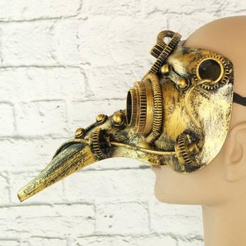 Маска винтажная стимпанк Чумной доктор (золото), фото 2