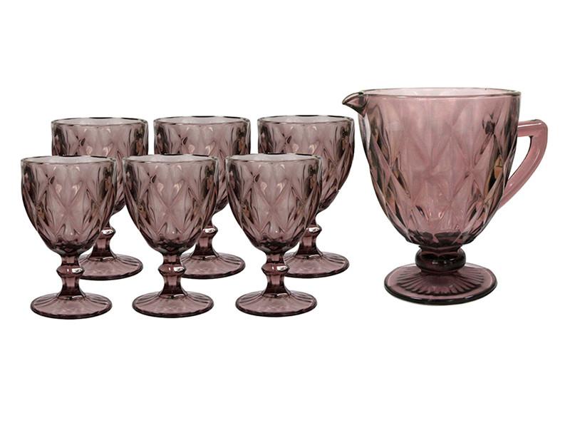 Набор для напитков Изумруд розовый 300/1000мл 7пр
