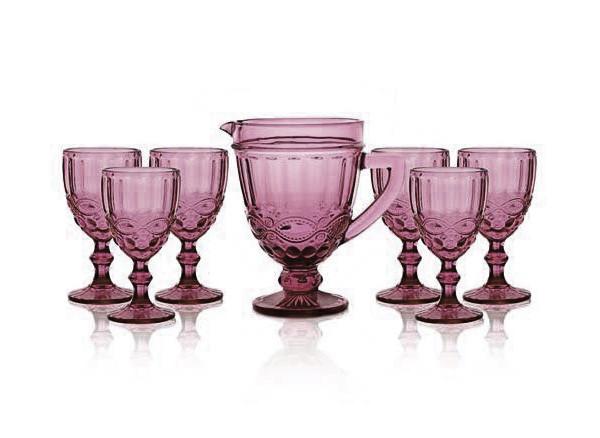 Набор для вина Винтаж розовый 300/1000мл 7пр
