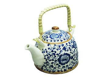 Керамический чайник с бамбуковой ручкой Синяя мальва 600мл