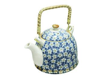 Керамический чайник с бамбуковой ручкой Домашний 900мл