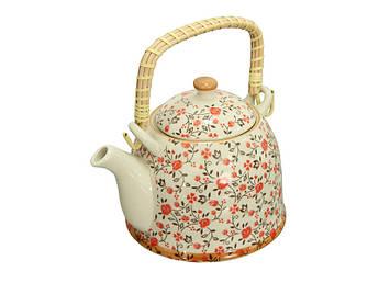 Керамический чайник с бамбуковой ручкой Красный цветок 900мл