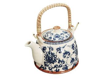 Керамический чайник с бамбуковой ручкой Голубая хризантема 900мл