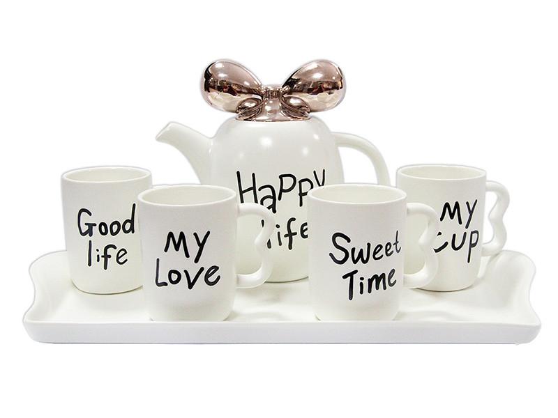 Набір для чаю на підносі Щасливе життя 260/1000мл 6шт