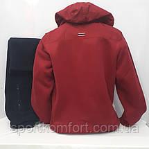 Турецкий тёплый спортивный костюм Soccer бордо/ тёмно-синий тринитка капюшон брюки прямые размер 3хл, фото 3