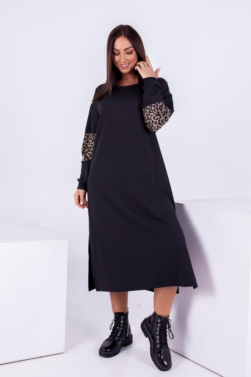 Платье трикотажное с ангоровыми вставками, 50-52 и 54-56р.