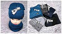 М 94043 Комплект мужской, подростковый шапка домик на флисе и снуд, разние цвета