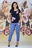 Женский стильный комплект футболка и джинсы с аппликацией цветов и жемчуга, батал большие размеры, фото 10