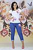 Женский стильный комплект футболка и джинсы с аппликацией цветов и жемчуга, батал большие размеры, фото 4