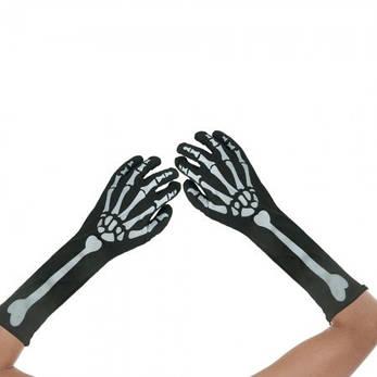Перчатки Скелета длинные, фото 2