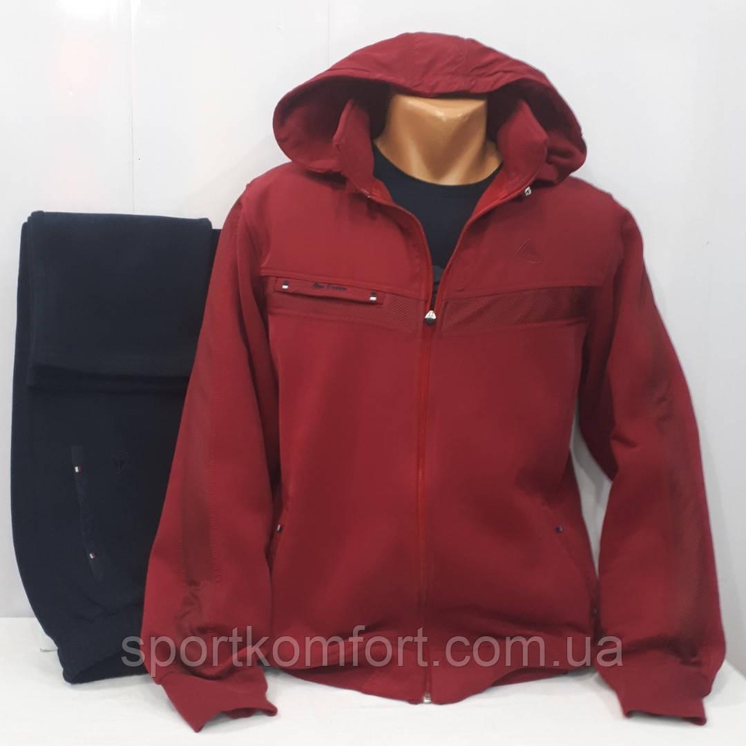 Турецкий тёплый спортивный костюм Soccer бордо/ тёмно-синий тринитка капюшон брюки прямые размер 3хл