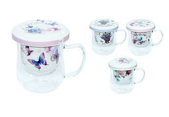 Стеклянная заварочная чашка с керамическим фильтром Прованс 350мл