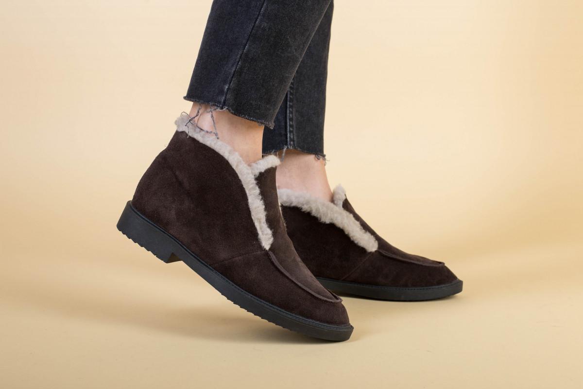 Ботинки женские замшевые шоколадного цвета зимние