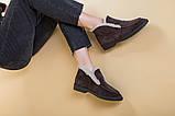 Ботинки женские замшевые шоколадного цвета зимние, фото 7