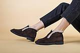 Ботинки женские замшевые шоколадного цвета зимние, фото 8