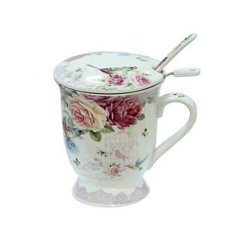 Заварочная чашка с ложкой и металическим ситом Розы 300мл