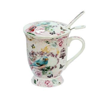 Заварочная чашка с ложкой и металическим ситом Райские птицы 300мл