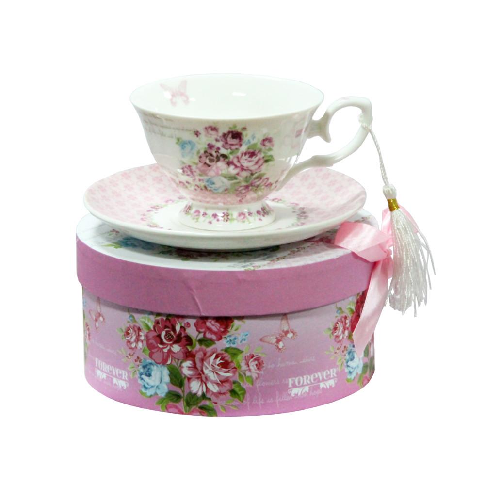 Чашка з блюдцем Рожевий кущ OLENS 200мл