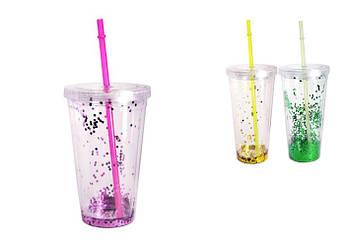 Пластиковий стакан з кришкою і трубочкою Шипучка 550мл