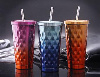 Металевий стакан для латте з трубочкою Найт лайф 550мл