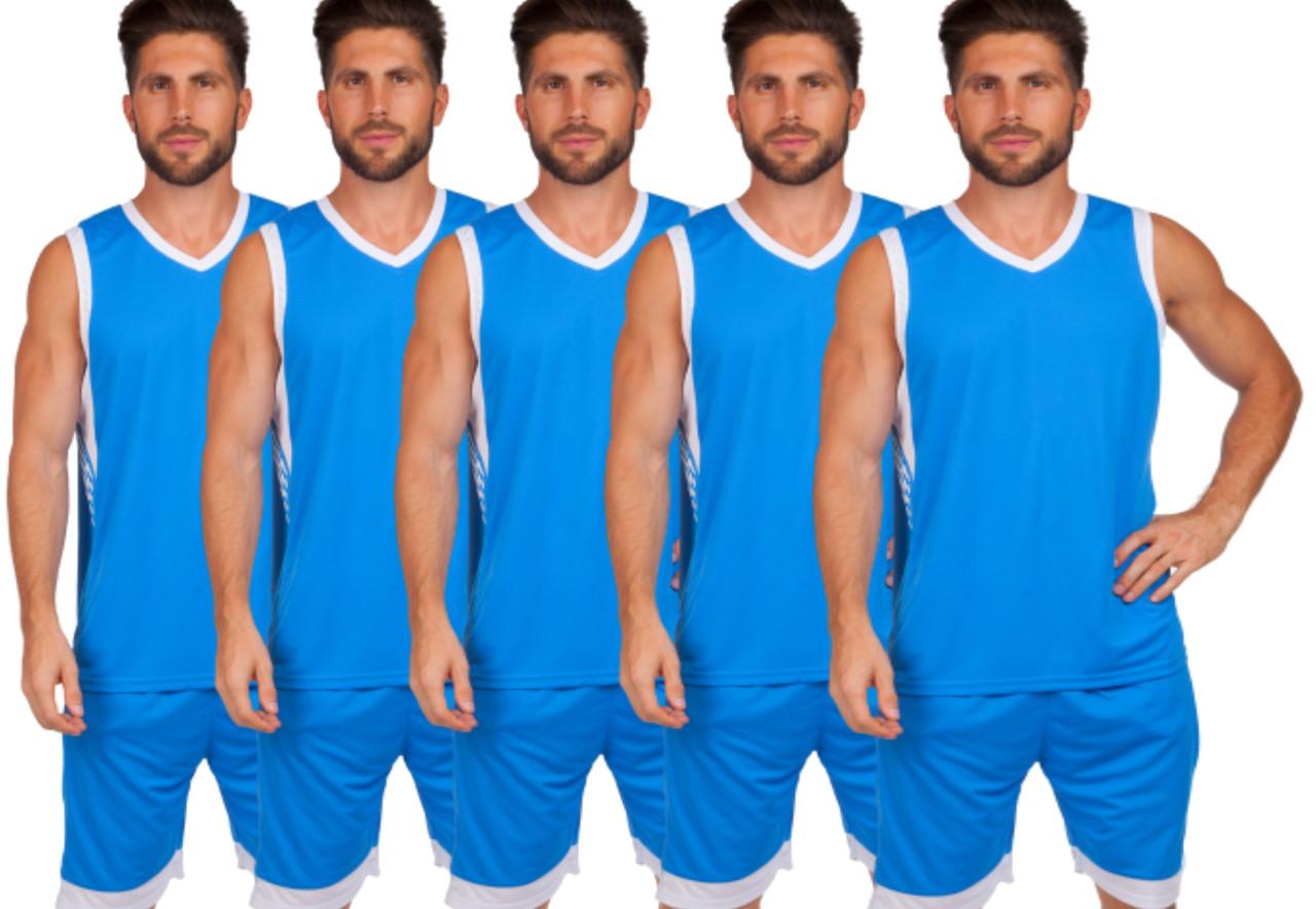 Форма баскетбольная мужская BasketBall Unifrom голубой/белый (LD-8017)