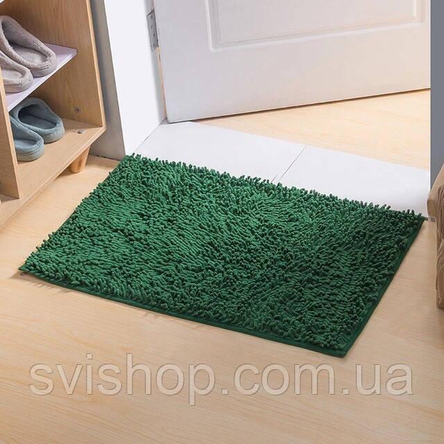 Коврик для ванной из микрофибры лапша 50х80см.Зеленый цвет.