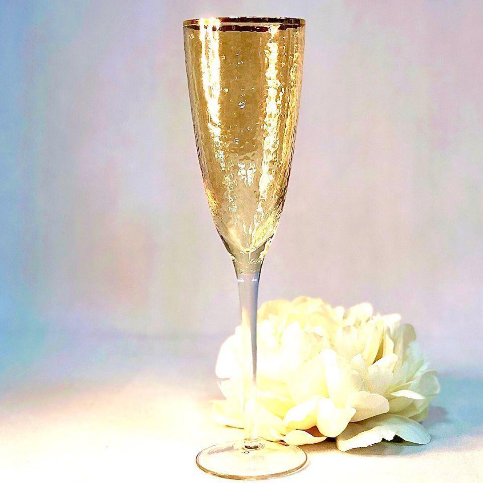 Бокал для шампанского золотистый Голд Хаммерд 250мл 4шт