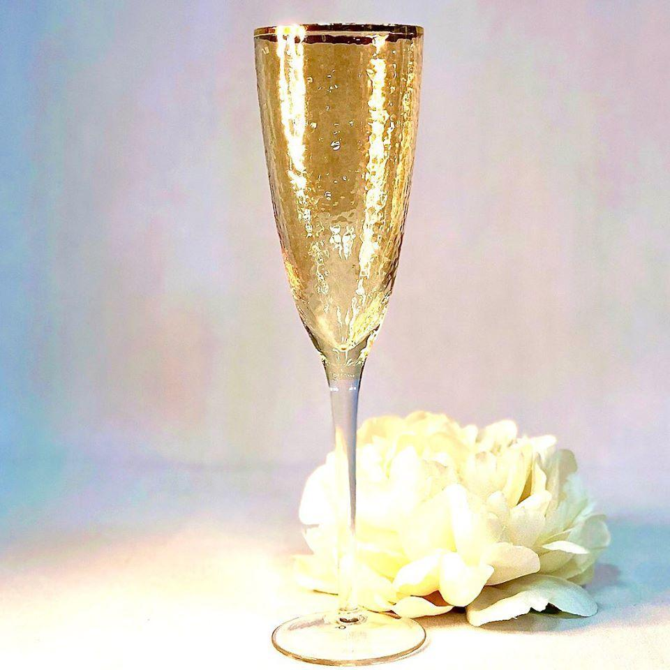 Келих для шампанського золотистий Голд Хаммерд 250мл 4шт