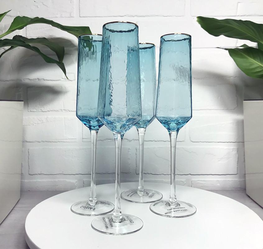 Набор бирюзовые бокалы для шампанско Бирюза 180мл 4шт