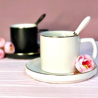 Чашка с блюдцем и ложечкой Элеганс белая или черная 250мл