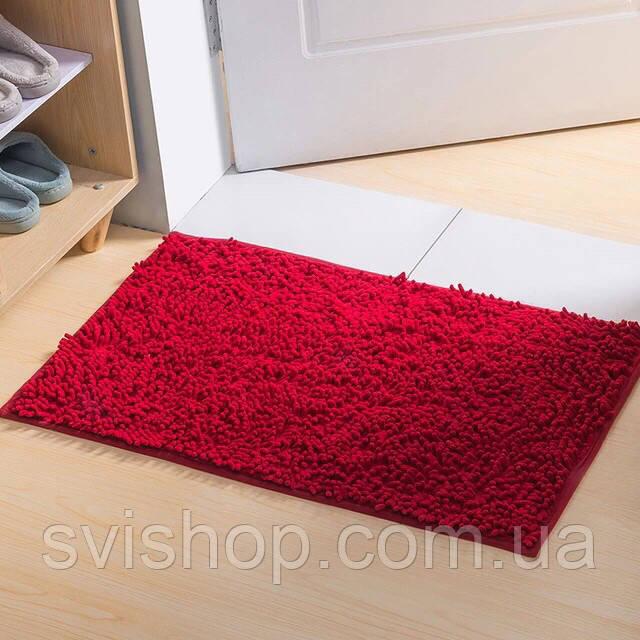 Коврик для ванной из микрофибры лапша 50х80см.Бордовый цвет.
