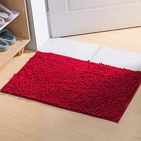 Коврик для ванной из микрофибры лапша 50х80см.Бордовый цвет., фото 1