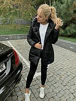 Стильная зимняя тёплая женская длинная куртка зефирка чёрная S 42 M 44 L 46 48 50