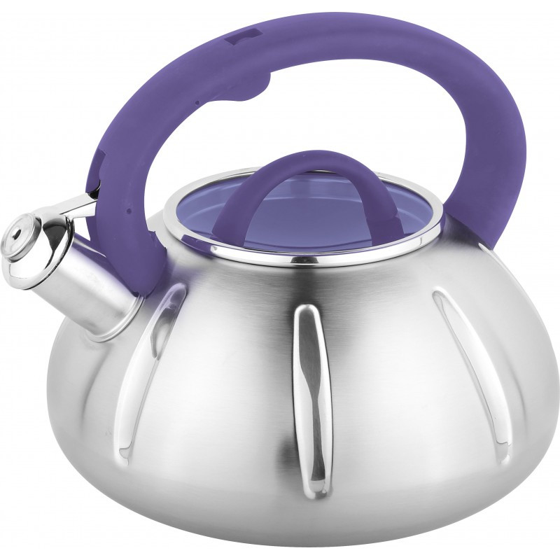 Чайник из нержавеющей стали со свистком и стеклянной крышкой на 3 литра UNIQUE UN-5303