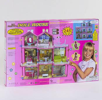 Будиночок для ляльок 6992 (6) 3 поверхи, світло, меблі (висота 109 см) Гарантія Якості Швидка Доставка