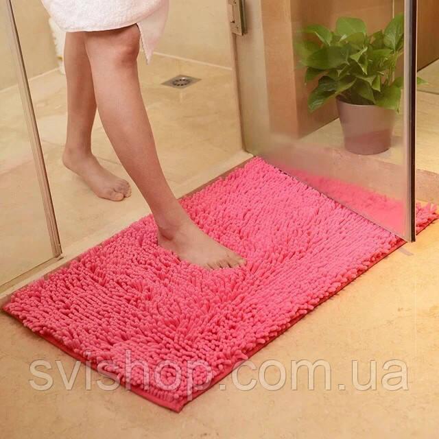 Коврик для ванной из микрофибры лапша 115х75см.Розовый цвет.
