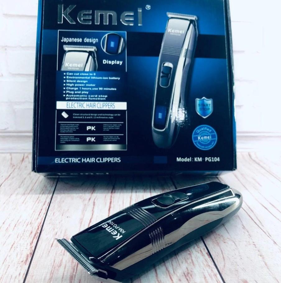 Машинка для стрижки волос и бороды триммер Kemei KM PG-104 Black Pro (546546)