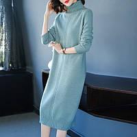 Сукня трикотажне жіноче з високим коміром, блакитна м'ята, М\ХL