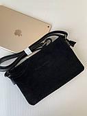 Черная сумка замшевая комбинированная клатч из натурального замша Pretty Woman Одесса 7км