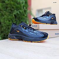 Мужские кроссовки в стиле Reebok DMX черные с оранжевым, фото 1
