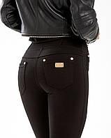 Лосины женские утеплённые черные турецкий трикотаж на флисе с карманами №8167