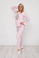 Теплая пижама женская брюки кофта и маска для сна розовая, фото 1