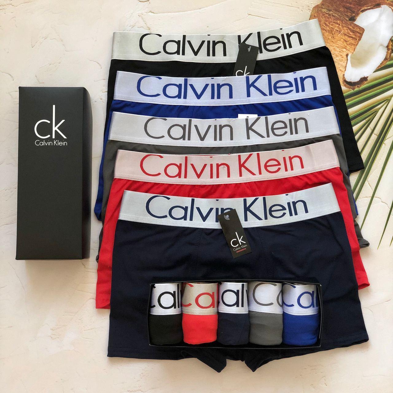 Отличный набор нижнего белья Calvin Klein, мужские трусы Кельвин Кляйн, классические  боксерки 5 шт. Реплика!