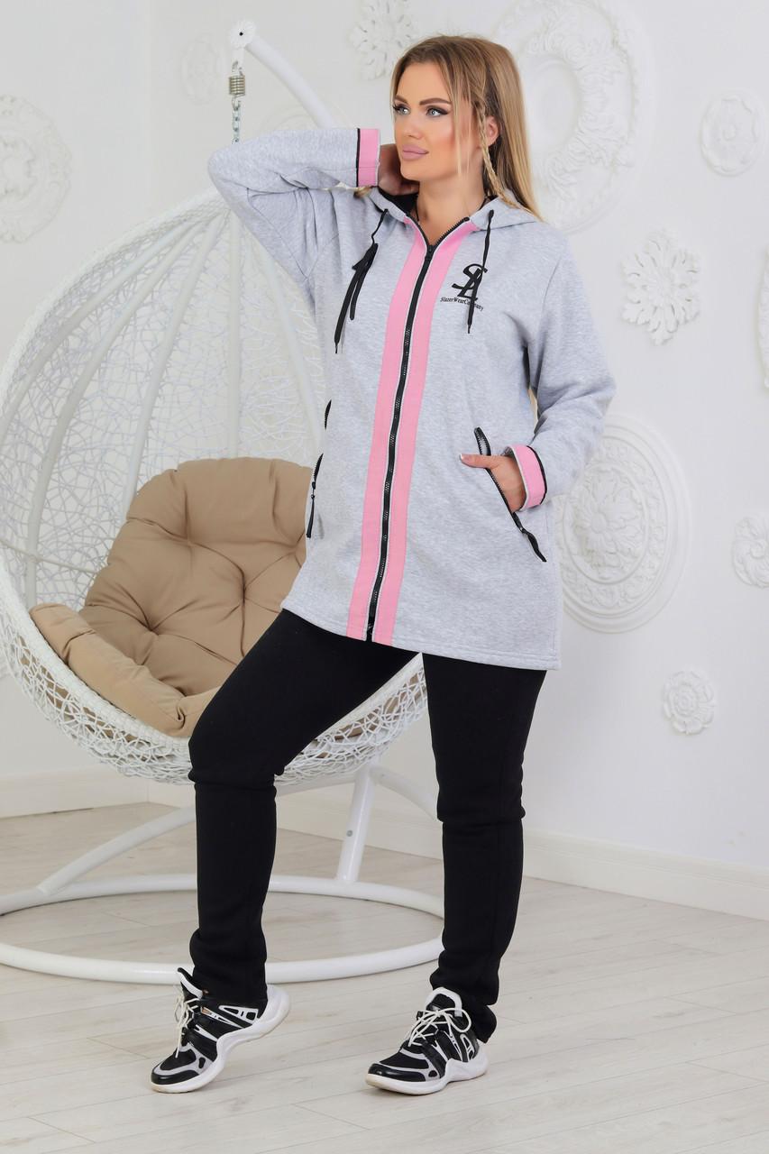 Жіночий утеплений костюм з подовженою курткою розміри 50, 52, 54